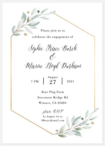 Olive Sprigs Engagement Party Invitations