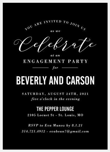 Black Tie Engagement Party Invitations