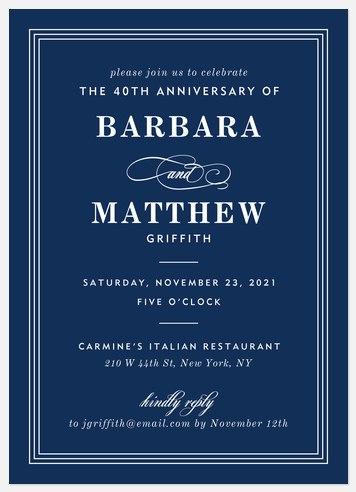 Simply Classic Anniversary Invitations