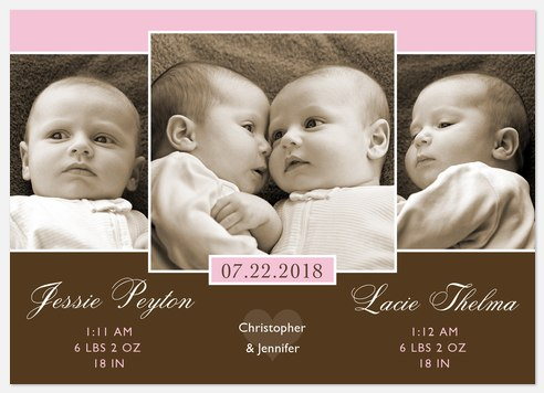 Twice as Nice Twin Birth Announcements