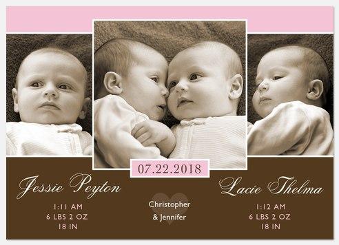 Twice as Nice Twin Birth Announcements