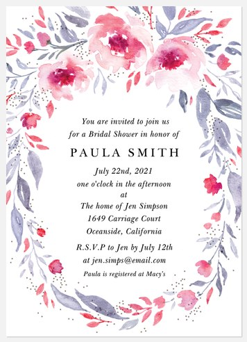 Oval Bouquet Bridal Shower Invitations
