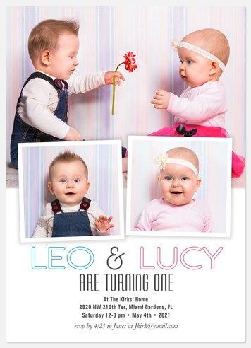 Double the Happy Kids' Birthday Invitations