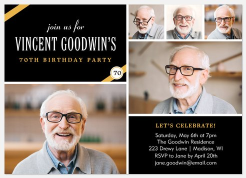 Classic Banner Adult Birthday Invitations