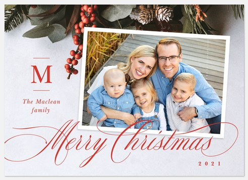 Elegant Garland Holiday Photo Cards