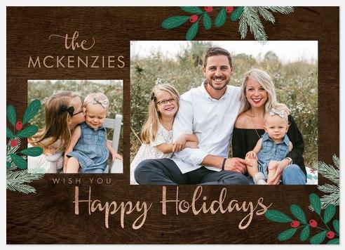 Modern Woodland Holiday Photo Cards