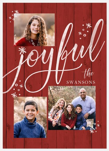 Joyful Shiplap Holiday Photo Cards