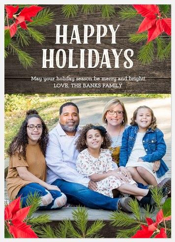Poinsettia Frame Holiday Photo Cards