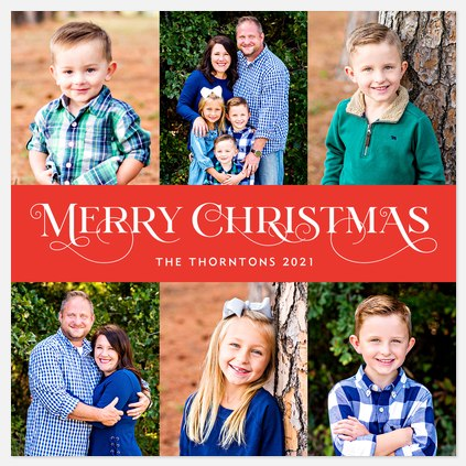 Fanciful Serifs Holiday Photo Cards