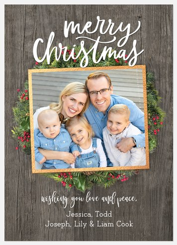 Farmhouse Wreath Holiday Photo Cards