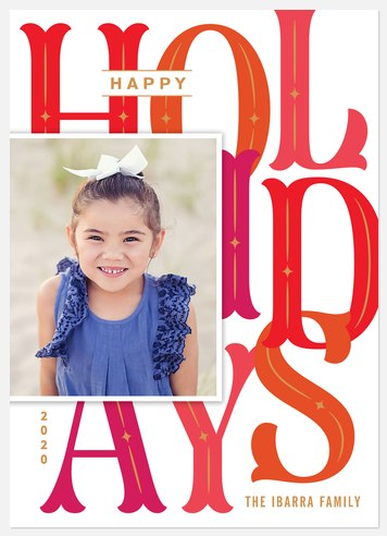 Overlapping Letters Holiday Photo Cards