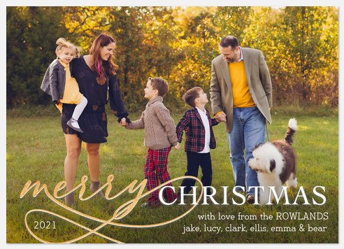 Merry & Golden Holiday Photo Cards