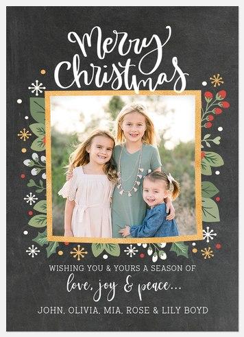 Slate Foliage Holiday Photo Cards