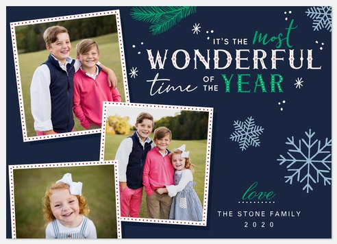 Snowflake Wonder Holiday Photo Cards