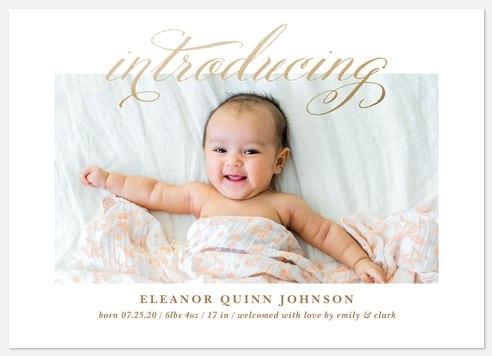 Golden Intro Baby Birth Announcements
