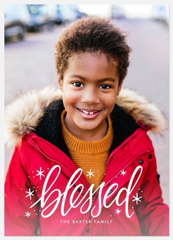 Modern Blessed Holiday Photo Cards