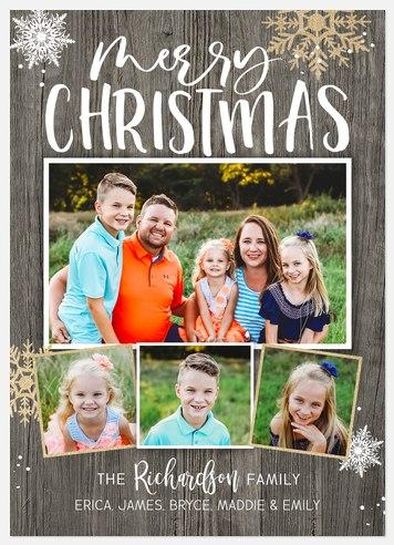 Barnwood Snow Holiday Photo Cards