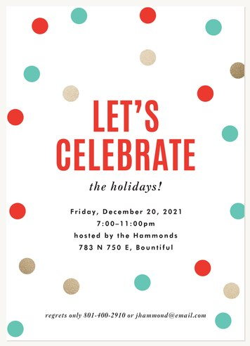 Cheerful Confetti Holiday Party Invitations