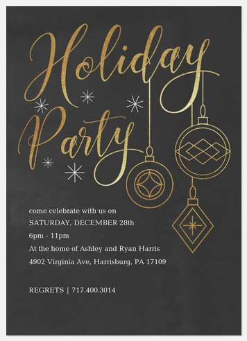Golden Ornaments Holiday Party Invitations