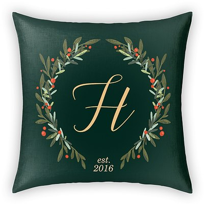 Monogrammed Wreath Custom Pillows