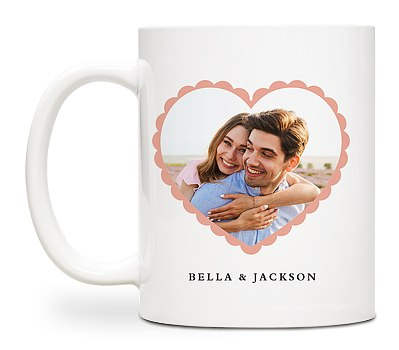 Scalloped Heart Custom Mugs