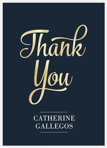 Golden Script Thank You Cards