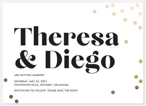 Champagne Confetti Save the Date Photo Cards