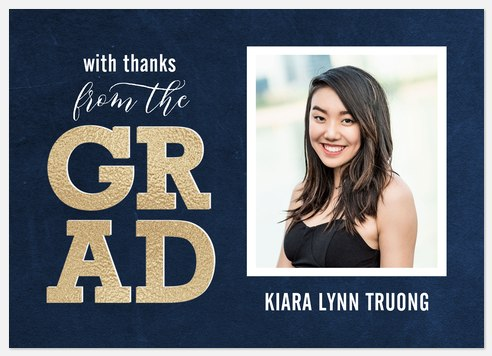 Gold Grad Thank You Cards