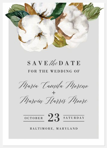 Cotton Blooms Save the Date Photo Cards