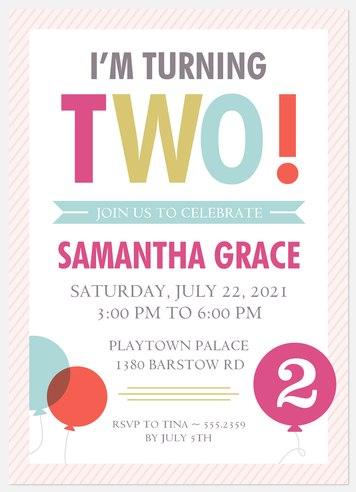 Two Pink Pin Kids' Birthday Invitations