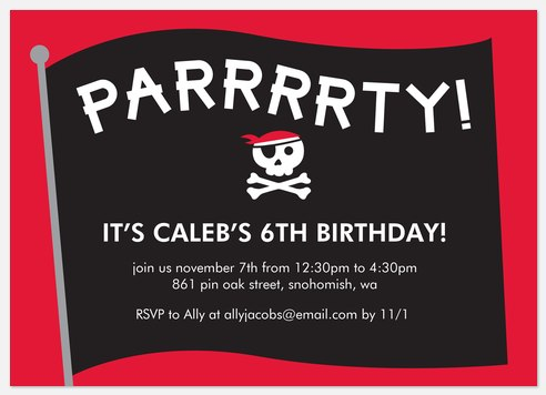 Pirate Flag Kids' Birthday Invitations