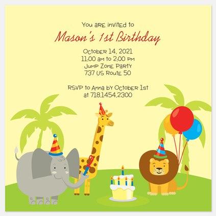 Jungle Friends Kids' Birthday Invitations