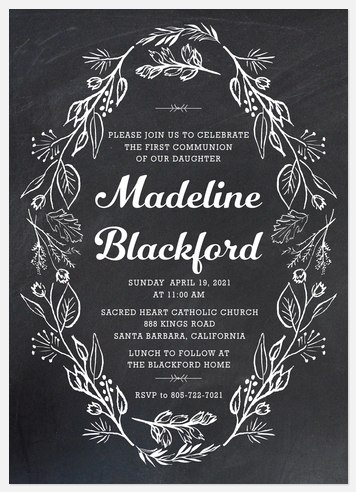 Floral Blessing First Communion Invitations