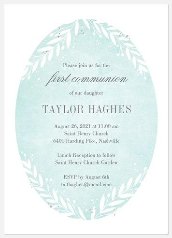 Lush Boughs First Communion Invitations