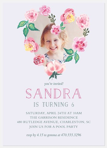 Precious Bouquet  Kids' Birthday Invitations