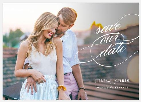 Elegant Swash Save the Date Photo Cards
