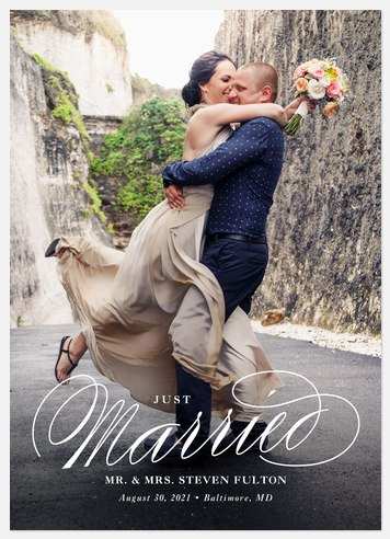 Swashed Script Wedding Announcements