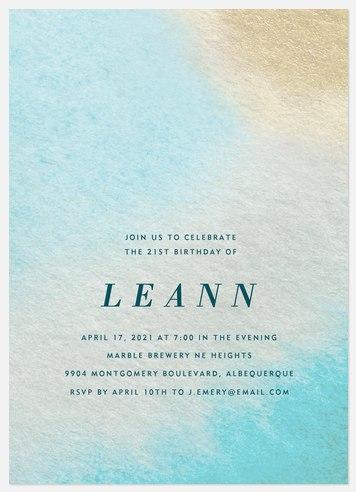 Ocean Wash Adult Birthday Invitations