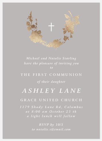Gilded Curve First Communion Invitations