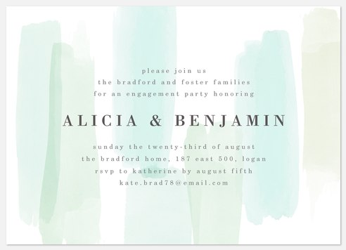Soft Brushmarks Engagement Party Invitations