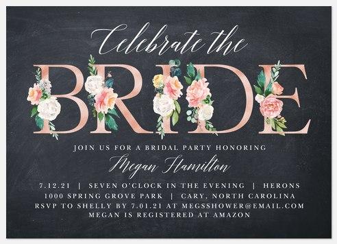 Floral Letters Bridal Shower Invitations