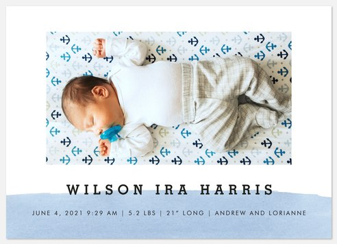 Watercolor Accent Baby Birth Announcements