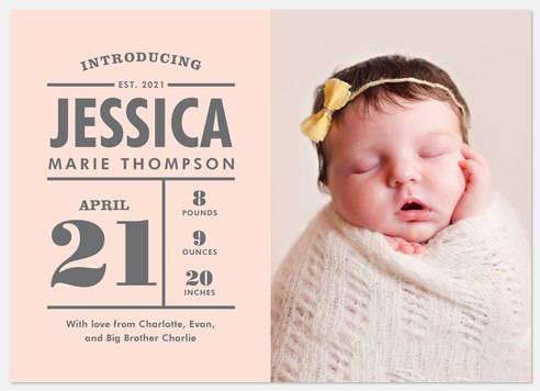 Flag Introduction Baby Birth Announcements