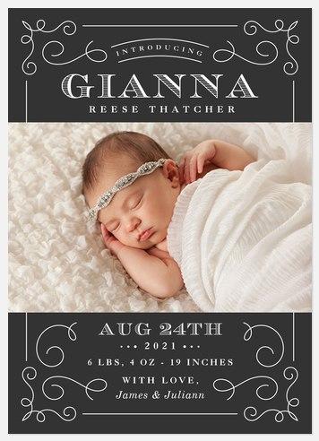 Vintage Swirls Baby Birth Announcements