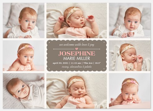 Eight X Pink Love Baby Birth Announcements