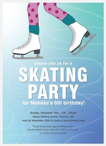 Skating Party Kids' Birthday Invitations