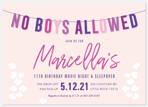 No Boys Allowed Teen Birthday Invitations