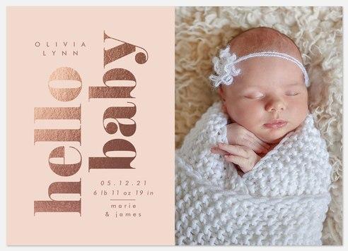 Rosy Hello Baby Birth Announcements