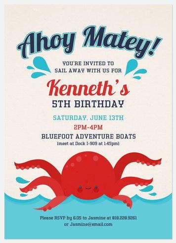 Ahoy Kids' Birthday Invitations