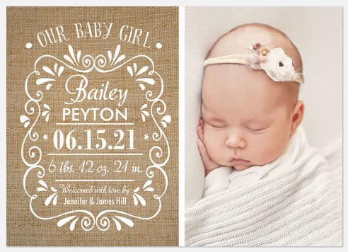 Country Charm Baby Birth Announcements